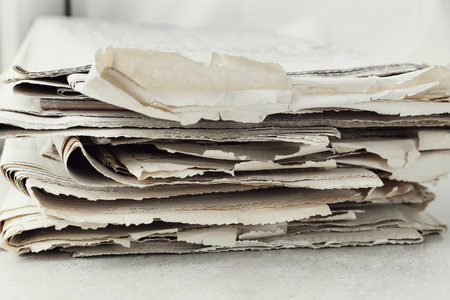 Media. Newspaper on the table Stock Photo