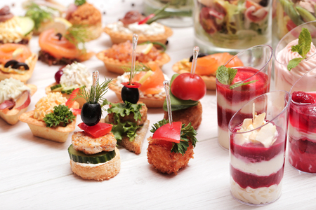 catering food: Various snacks on the table Stock Photo