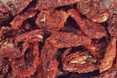 sundried: Sun-dried tomato on the table