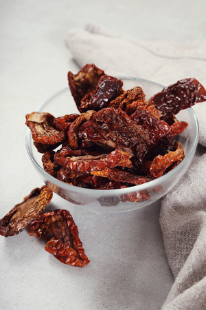 sundried: Sun-dried tomato in a bowl Stock Photo