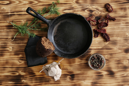 peppercorn: Cooking. Frying pan on the table