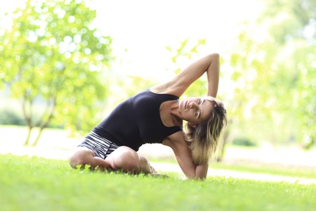 Outdoor yoga during sunny day