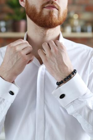 white sleeve: Men fashion