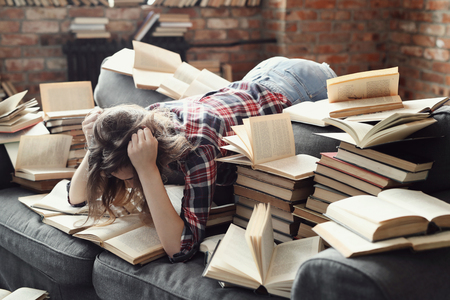 young girl with her books