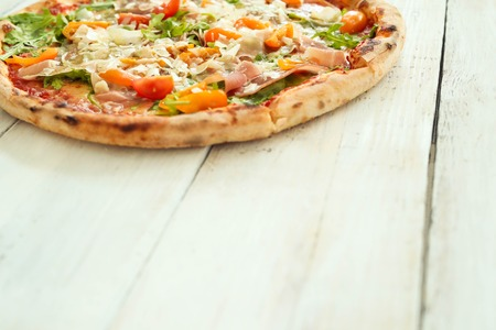 junk: Food. Delicious pizza on the table