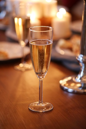 Christmas Eve. Glass of champagne Stock Photo