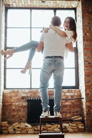 Couple at home Imagens