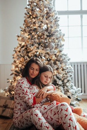 Mother and daughter on Christmas Day