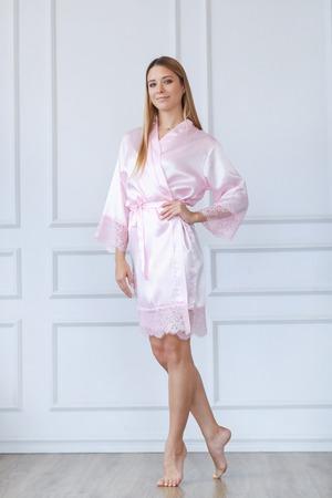 Woman in silk robe