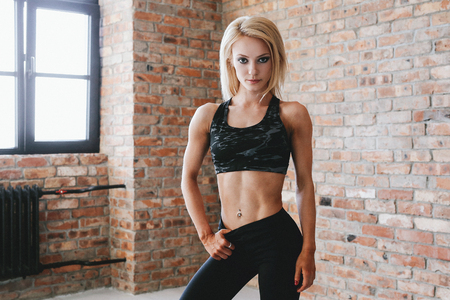 Athlete with fit body Imagens