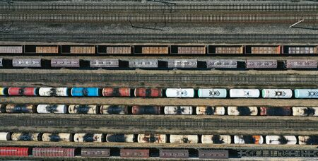 Birds-eye view of the train station that is captured with a drone
