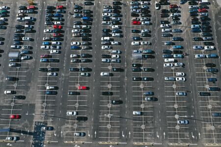 Bird's-eye view of the parking lot that is captured with a drone Imagens - 124791146