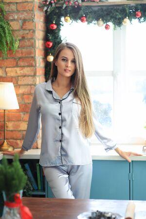 Girl in silver pajama