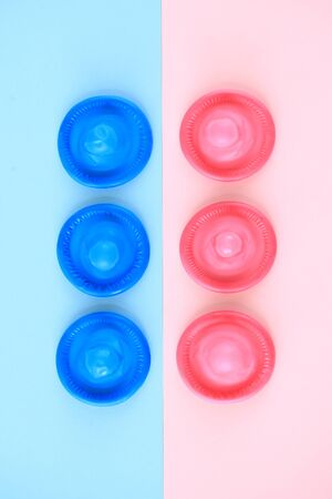 Pink and blue Condoms Stok Fotoğraf