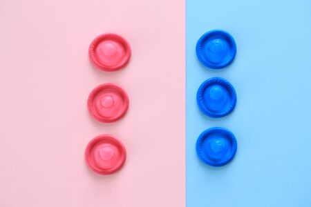 Blue and red Condoms