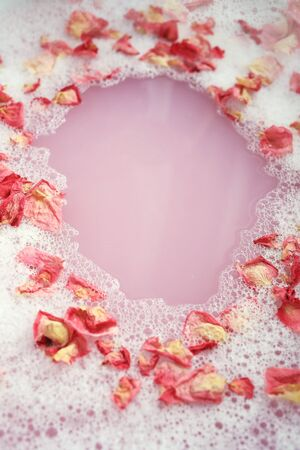 Bath with flower petals