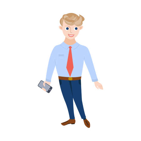 A young male businessman, manager or office worker, stands and holds a phone in his hand. Illustration in cartoon flat style. 矢量图像