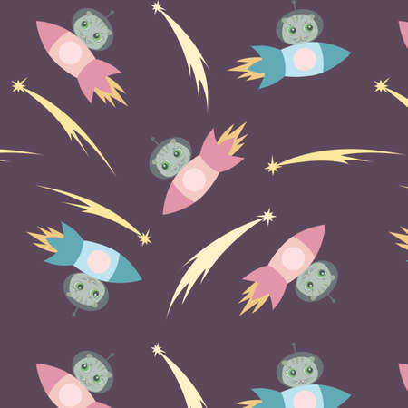 Childish illustration cartoon cute scottish fold cats on the rocket in space. Vector seamless pattern for kids design, wrapping paper, wallpaper, textile, apparel, fabric.