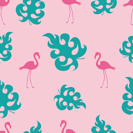 Seamless pattern of bright pink flamingos and tropical leaves on a pink background.