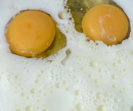 whisking: Cooking dough for pancakes: whisking milk with eggs