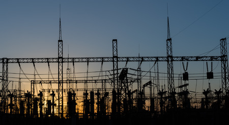 electricity substation: Electrical substation silhouette on the dramatic sunset background