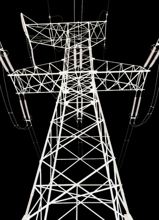 high voltage power lines and pylon on a black background Stock Photo