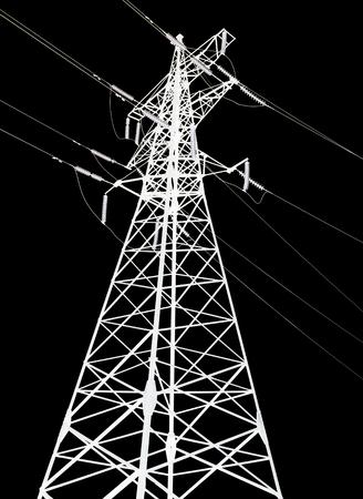 ac: Electricity pylon isolated on black background closeup Stock Photo