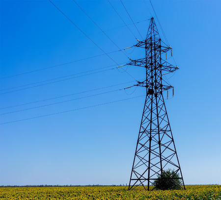 power line transmission: Electricity Pylon - UA standard overhead power line transmission tower.