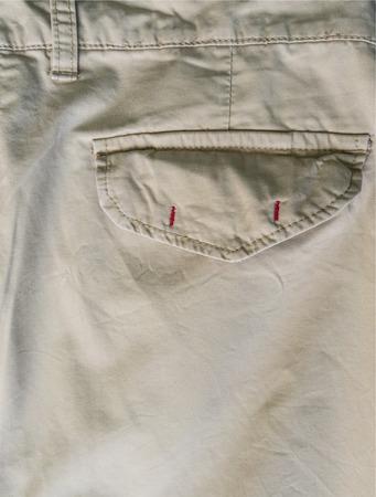 khakis: Close-up of a back pocket on a pair of khakis