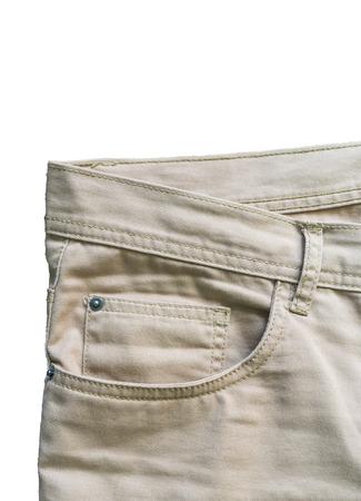denim trousers: Front pocket denim trousers beige close up