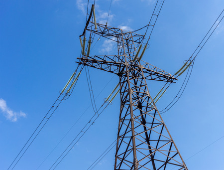 conductor electricity: Electricity transmission power lines at sun