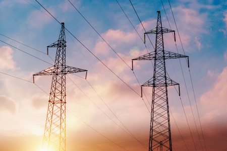 horizontal format: Electricity pylons and cable lines. Horizontal format