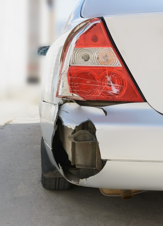 careless: Details of a bronze car in an accident