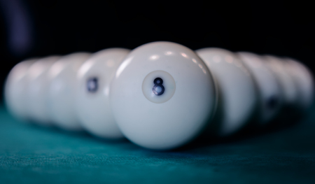 Pool balls in random order with Eight Ball.