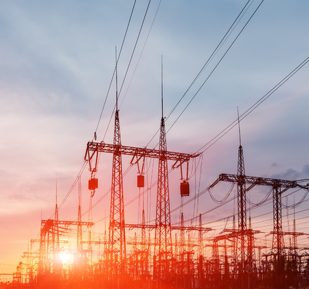 Electrical substation on the sunset background close up Stock Photo