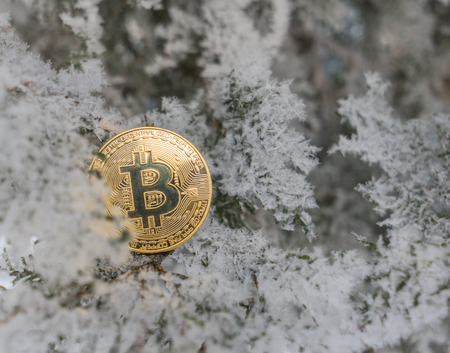 Coin bitcoin is covered with ice. Freeze bitcoin. To ban bitcoin