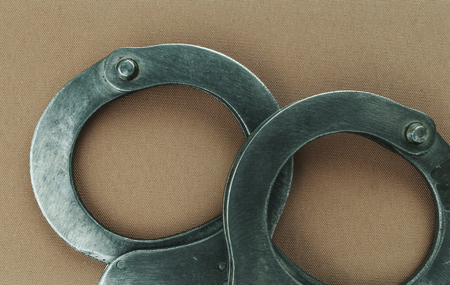 Steel handcuffs of police special equipment, fetters.