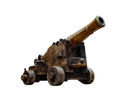 Ancient wheeled cast iron cannon isolated on white background. Stock Photo