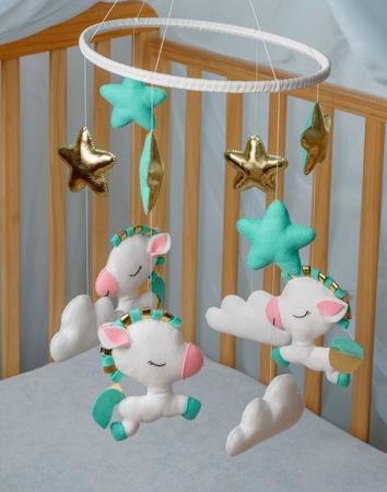 Baby crib  mobile - kids toys, on white background.