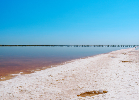 sunset on a pink salt lake, a former mine for the extraction of pink salt. row of wooden pegs overgrown with salt