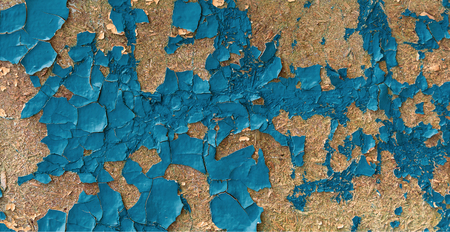 Seamless crackle texture of cracked blue enamel paint on wooden surface. Abstract grunge background. Vintage pattern from cracks, chips, stains for print and design. Old blue paint texture closeup Stok Fotoğraf