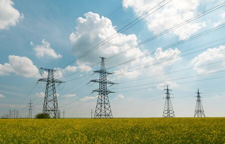 Power lines and high-voltage lines against the backdrop of blooming oilseed rape on a summer day. Green energy. Transmission of electricity by means of supports through agricultural areas.