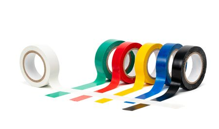 Rolls of insulation adhesive tape, multi colored ribbons on a white background Zdjęcie Seryjne