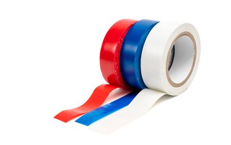 Rolls of insulation adhesive tape, multi colored ribbons on a white background Stock Photo