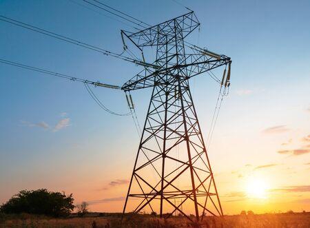 high voltage post. High-voltage tower sky background Zdjęcie Seryjne
