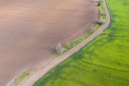 aerial view, dirt road divides green and brown field.