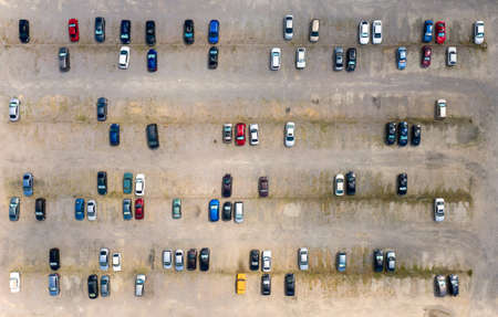 parking for cars in the daytime aerial view 免版税图像