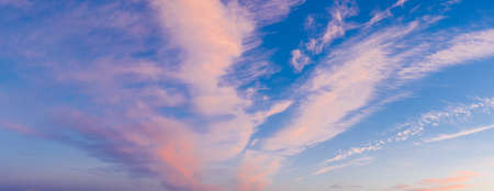 Colorful sky with cirrus clouds during dawn. High resolution panorama. View from drone