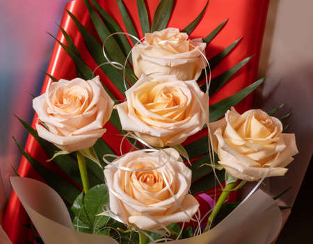 Peach-colored roses are collected in a beautiful gift bouquet.