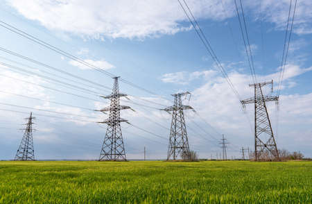 Electrical net of poles on a panorama of blue sky and green meadow. Zdjęcie Seryjne
